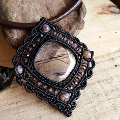 Choker Necklace Pendant Cabochon Black Rutilated Quartz Leather Cotton Cord…