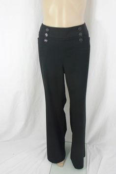 White House Black Market Black Pant With Black Buttons Size 14R