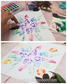 Printing with Watercolor Paints - The Kitchen Table Classroom Combine watercolor paints and leaves for simple prints that come together to make a mandala. Combine watercolor paints and leaves for simple prints that come together to make a mandala. Nature Crafts, Fall Crafts, Diy Crafts, Creative Crafts, Art For Kids, Crafts For Kids, Arts And Crafts, Arte Elemental, Kids Watercolor
