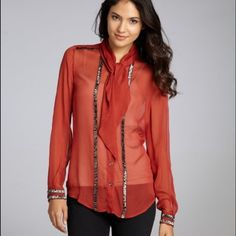 vine red silk blouse vine red silk 'Winter Bex' beaded button-down blouse French Connection Tops Blouses