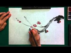 Plum blossom sumi painting demonstration -- The Plum is more complex, it requires the practice of line drawing as well as thick strokes for branches, thus gi...
