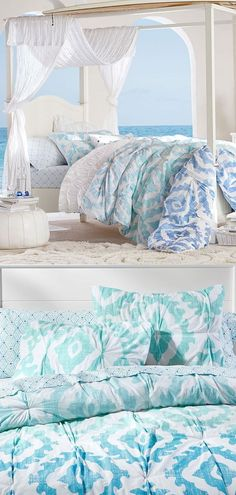 Ombre and ikat medallions combine on this organic cotton quilt for a beautiful and earth-friendly addition to your sleep space. Exclusively designed with world surfing champ Kelly Slater, this collection brings authentic surfer style indoors. Teen Girl Bedding, Teen Girl Bedrooms, Guest Bedrooms, Dorm Bedding, Bedding Sets, Teen Room Decor, My New Room, Bed Design, Modern Bedroom
