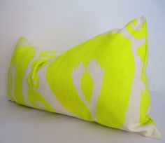 Christmasinjuly - CIJ - Lime Green Pillow Cover, Long Green and white pillow, lumbar cushion cover, green throw pillow cover 14x28 Inch