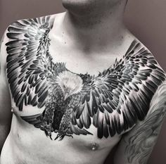 Flying Eagle Chest Tattoo