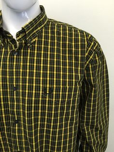 FRED PERRY Mens Shirt XXL SLIM FIT Black Yellow CHECKED Cotton #CHEAP #DESIGNER…