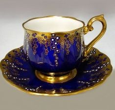 RP: Royal Albert April Showers - Gold with Cobalt Blue Tea Cup & Saucer