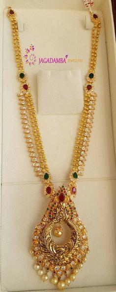 Gold Wedding Jewelry, Bridal Jewelry, Gold Jewelry, Beaded Jewelry, Gold Necklace, Gold Jewellery Design, Temple Jewellery, Jewelry Patterns, Necklace Designs