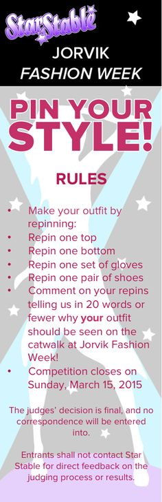 The rules for our Jorvik Fashion Week: Pin Your Style! Contest