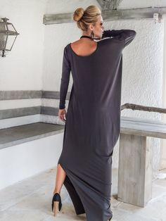 Gray Maxi Long Sleeve Dress / Gray Kaftan / Asymmetric Plus Size Dress / Oversize Loose Dress / #35051 by SynthiaCouture on Etsy