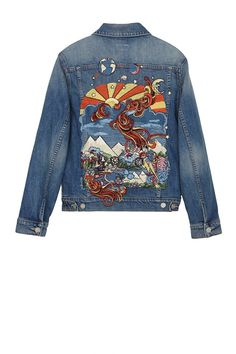 How to wear the new season denim Really REALLY want. Could we make our own? Redo Clothes, Custom Clothes, Custom Denim Jackets, Look Jean, Denim Art, Painted Denim Jacket, Mother Denim, Painted Clothes, Jackett