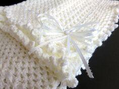 White Hand Knit Crochet Afghan Baby Blanket | Etsy Crochet Ripple, Baby Afghan Crochet, Crochet Pillow, Crochet Blanket Patterns, Knit Crochet, Knitting Patterns, Ripple Afghan, Crochet Doilies, Blue Baby Blanket