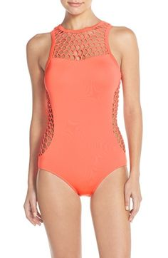 Seafolly 'Mesh About' High Neck One-Piece Swimsuit available at #Nordstrom