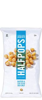 Halfpops - Love those little not-quite-popped pieces of popcorn in the bottom of the bag? This product is for you! I tried the aged white cheddar flavor. It was tasty and SUPER crunchy. Yum!
