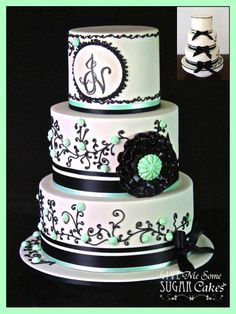 Ivory and Black wedding - Ivory shimmer & black wedding cake, with mint green highlights to match the bridesmaid dresses. The Bride and Groom sent me a picture of a black and white cake they wanted me to customise to compliment their wedding theme. I added a few items and changed the colours, to produce this creation for their special day. I would love to credit the original cake, but unfortunately through countless web searches, i cannot find its designer to give a shout-out to.