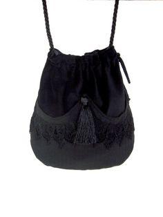 a02b2584cb Black Lace Drawstring Bag Black Velvet Bag Bohemian Bag Crossbody Purse  Dark Cosplay Bag Forest M