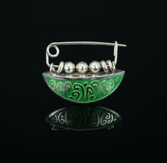 Catherine Davies Paetz - Peas On A Pod - Fine silver clay, hollow form construction, water etched, enameled, sterling silver