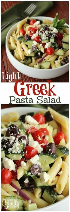 Light Greek Pasta Salad a fresh, flavorful pasta salad that is perfect for lunch, dinner, potlucks, or BBQs! Great as a main dish OR a side dish! via @favfamilyrecipz