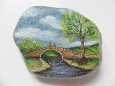 Spring bridge Miniature art on English sea glass by Alienstoatdesigns, $29.00