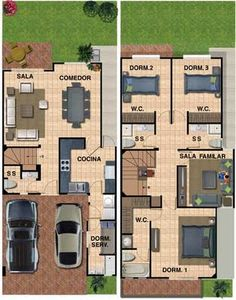 Hasil carian imej untuk plantas arquitectonicas en terreno 6 x 16 Model House Plan, Dream House Plans, House Floor Plans, The Plan, How To Plan, Home Design Plans, Plan Design, Narrow House Plans, House Layouts