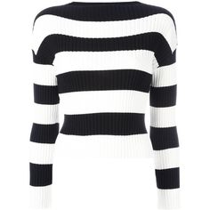Boutique Moschino striped jumper ($272) ❤ liked on Polyvore featuring tops, sweaters, black, print top, patterned tops, cotton sweaters, striped sweater and jumper top
