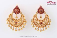 22K Gold Lakshmi Ear Hangings Chand Bali Temple Jewellery