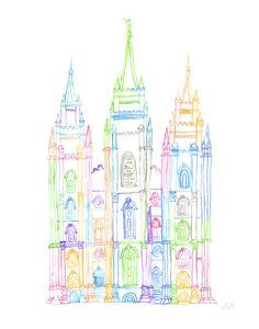 Salt Lake City, Utah LDS Temple outline watercolor print