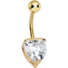 Crystalline Gem Gold Plated Belly Ring