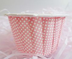 Baby on Her Way Baking Cups for Cupcakes & Muffins Another mini baby pink baking cup with polk dots pattern. Perfect for a baby shower or first birthday celebration! International shipping from Canada available. Visit site for more details!