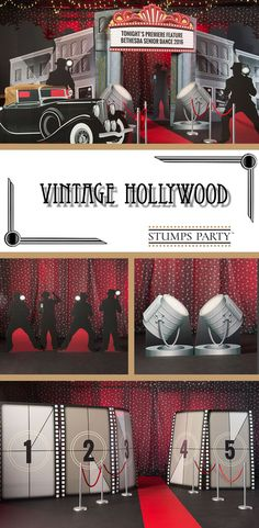 Create a Hollywood inspired celebration using our Vintage Hollywood theme kit. Complement your event with personalized Hollywood favors, invitations, and more! Shop all of our Hollywood party supplies to make your event complete! Dance Themes, Movie Themes, Vintage Hollywood, Homecoming Themes, Prom Decor, Event Themes, Event Ideas, Red Carpet Party, Movie Party