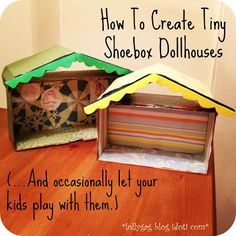 Lollygag Blog.: Tiny Shoebox Dollhouses. 'Cause Obviously. Dollhouse Ideas, Dollhouse Dolls, Dollhouse Miniatures, Craft Projects For Kids, Home Projects, Home Crafts, Cardboard Crafts, Treasure Chest, Crochet Designs