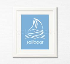 Sailboat Nursery Art Print - 8x10 - Nautical Blue Nursery Decor, Sailor Kids Room Decor, Toddler's Room Wall Art, Sail