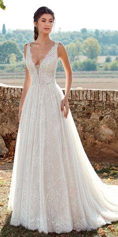 sleeveless deep plunging v neck full embellishment romantic a line wedding dresses 2019 eddy k