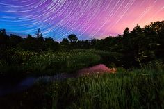 This awesome artist uses time-lapse photography to create images of the landscape and sky full of movement.  Star Lines and Fireflies, by Matt Molloy | My Modern Shop