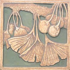 """Ginko leaves and fruit"" - Tile Restoration Center - American Arts and Crafts Tiles, Ernest Batchelder and Claycraft Designs, Tiles. We used this tile as the center motif in our kitchen backsplash over the stove. Azulejos Art Nouveau, Art Nouveau Tiles, Arts And Crafts For Adults, Arts And Crafts House, Arts And Crafts Movement, Craftsman Tile, Art And Craft Videos, Art And Craft Design, Deco Table"