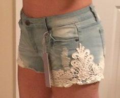 Tractr Cutoff Lace Crochet Cut Off Shorts light indigo denim