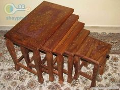 فروش عسلی چوبی 5 تایی با طرح گل و بوته تهران 1886116 - شیپور 500,000 تومان
