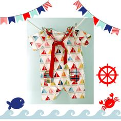 $30 Nautical Collection - Sailor Baby Jumpsuit - Sailor Romper - baby, toddler, girl or boy