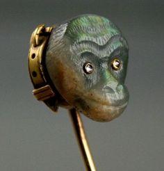 RARE Antique 15ct Gold Stick Tie Pin Carved Monkey Head Labradorite Diamonds | eBay