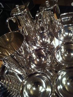 Polishing New silver finds for the antique mall. #rockymountainantiquemall