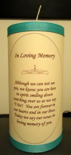This will be the candle that will be lit just before vows in memory of loved ones that will be with us in spirit. The person on Etsy that makes these personalizes them to fit the wedding colors, so based on the choices they offer