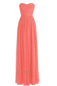 Strapless Coral Sweetheart Floor Length Chiffon Bridesmaid Dresses Am003