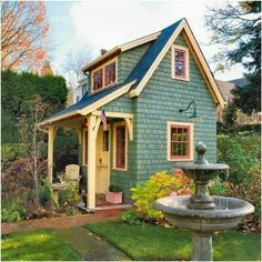 Easy to Build Tiny House Plans! This tiny house design-build video workshop shows how… Style Cottage, Cozy Cottage, Garden Cottage, Backyard Cottage, Seaside Cottage Decor, Backyard House, Rustic Cottage, Cottage House, Tumbleweed House