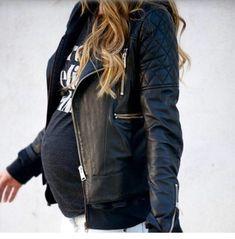 Leather rocker pregnancy look!