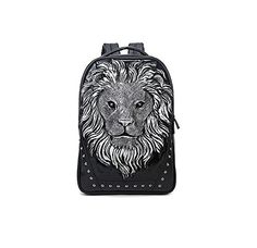Enhanced 3D silicone Lionhead rivet shoulder bag backpack female fashion creative personality street casual male  Enhanced 3D silicone Lionhead rivet shoulder bag backpack female fashion creative personality street casual male Pattern is a full 3D stereoscopic effects production, lifelike, using hot silver metallization process, so that the bag more solid, more upscale, 3D fashionable, lifelike, three-dimensional atmosphere, more domineering, high-grade, the former site of imported s..