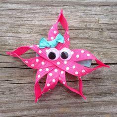 Pink Starfish Hair Clip Starfish Ribbon Sculpture by Making Hair Bows, Diy Hair Bows, Diy Bow, Bow Hair Clips, Homemade Hair Bows, Hair Ribbons, Ribbon Hair, Ribbon Bows, Grosgrain Ribbon