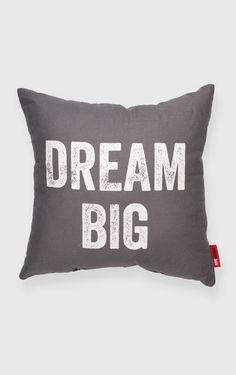 Dream Big Grey Throw Pillow