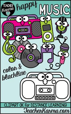 Use this set of Music Clipart as either traditional graphics or as digital stickers. It has a fun happy flair with the smiling faces. Use for printable resources or Google Classroom and other distance learning platforms. Includes boombox, iPod, microphone, podcast microphone, treble clef, music note, record, and CD. Love these music graphics for classroom teachers and TpT sellers. Music Activities For Kids, Learning Activities, Kids Learning, Teaching Resources, Classroom Clipart, School Clipart, Music Clipart, Smiling Faces, Treble Clef