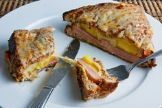 Kristi--this reminds me of itsn omplicTed :) we should make these! Croque Hawaii - Looks kinda fancy and the hubbs LOVES the ham & pineapple combo!