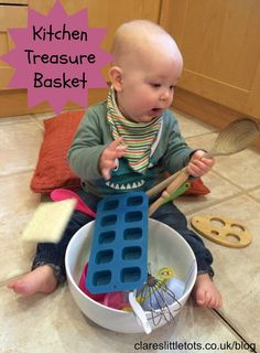 Baby treasure basket made using kitchen items. Great simple play idea that that takes no time to set up.