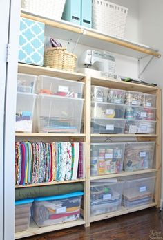 Cheap & Easy Closet Organization with Ikea Ivar Shelves It's too easy to organize your closet with these cheap Ikea shelves! This simple closet organization system doesn't require any special tools or assembly! Ikea Closet Storage, Craft Closet Organization, Ikea Closet Organizer, Sewing Room Storage, Sewing Rooms, Closet Shelves, Organization Ideas, Lego Storage, Sewing Closet